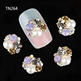 Fission 10pcs 3d nails decorations new arrive pearl gem design nail gel sticker adhesive rhinestones for nail manicure styling tools