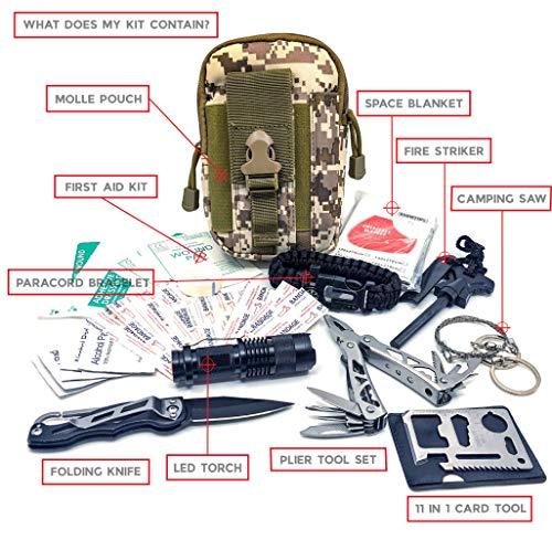 Imagen de felbridge green kits de supervivencia en emergencia con alicates plegables multitool y pulsera paracord   para acampar bushcraft militar y en sus aventuras al aire libre   molle survival kit v1  alternativa