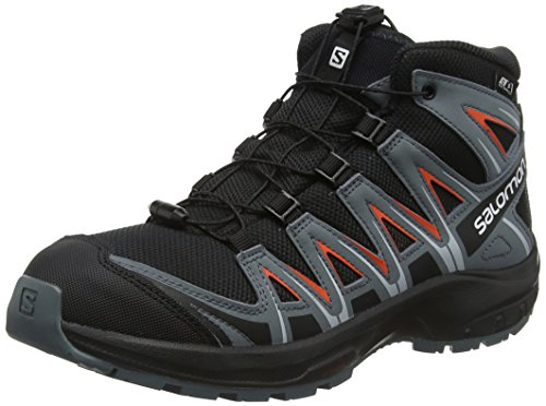Salomon Kinder Wanderschuhe, XA PRO 3D MID CSWP J, Farbe: schwarz/orange (Black/Stormy Weather/Cherry Tomato), Größe: EU 33