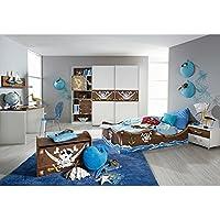 Kinderzimmer Pirat B 4 Teilig Weiss Braun Jugendzimmer Kleiderschrank Bett Schreibtisch Nachtkommode GS