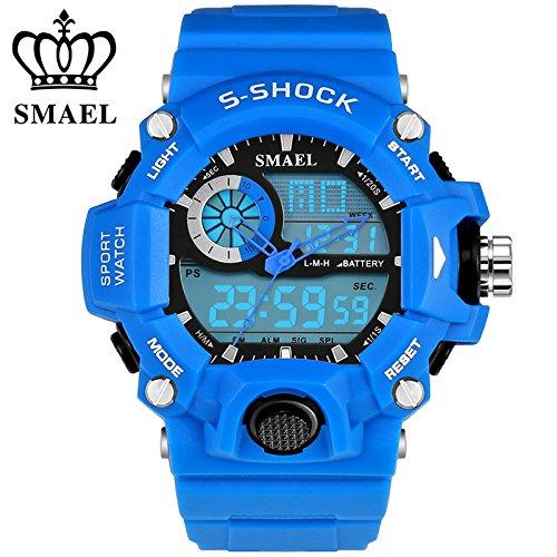 Smael orologio analogico digit sport led-s 50 m, impermeabile, antiurto, dual time casual orologi military relogio masculino ws1385 regalo