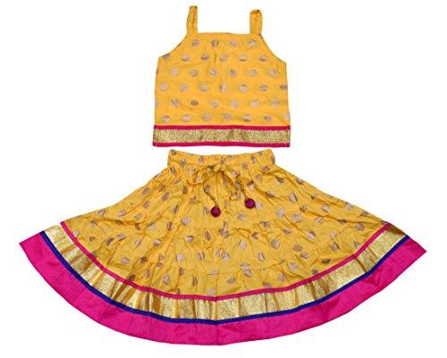 Decot Paradise Baby Girls Printed Lehenga Choli (KID431_1_Yellow_18-24 Months)