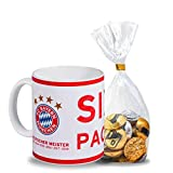 Tasse - FC Bayern München Deutscher Meister 2018 FCB - plus gratis Schokoladenmischung 120g