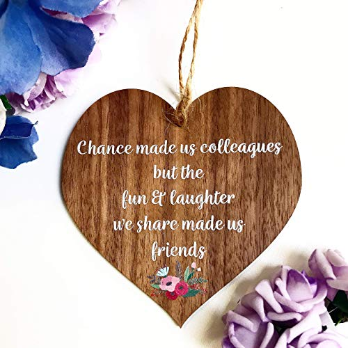 Chance made us Colleagues Fun and Laughter Mini Novelty Wooden Hanging Heart Leaving Gift Plaque Work Friendship Sign