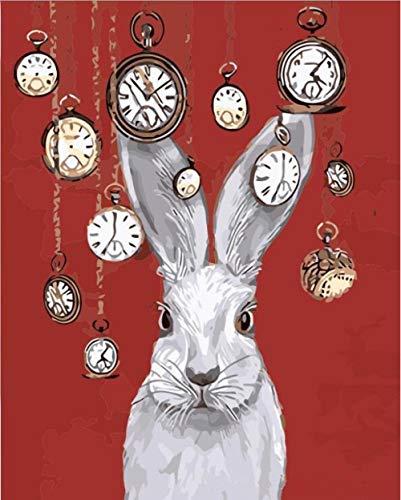 Dipingere Per Numero - Coniglio orologio animale - Per Gli Adulti E Gli Anziani, I Bambini Principianti , Diy Dipinto Olio Con Tela E Pennello 16 X 20 Pollici Vernice Acrilica - (Nessuna Cornice)