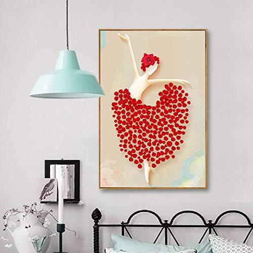 wuzhaodi Moderne Kunst Malerei Stil Kreative Figur Tanz Kostüm Floral Ornament Bild Print Mädchen Zimmer Wanddekor Leinwand Poster 50x70 cm (Bilder Von Kostüm Mädchen)