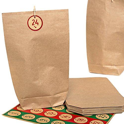 pajoma Adventskalender Nordic Vintage, 1 x 24 Kraftpapiertüten zum Befüllen, inkl. Zahlensticker und Klammern, Weihnachten