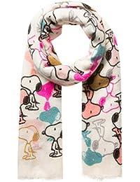 CODELLO PEANUTS SCHAL mit bunten Snoopy-Muster Fransen off-white grau 72103701