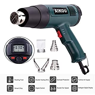 1800W Heat Gun AIKOU 220V Adjustable Temperature [122-1166℉] Hot Air Gun with Rear LCD Display Digital Controls Fast Heating Blower Kits for Stripping Paint, Soldering Pipes, Shrinking PVC(Green)