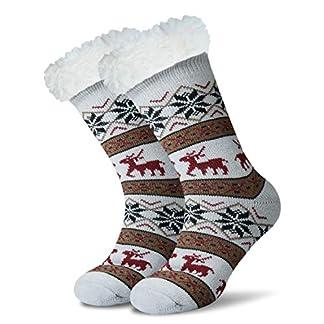 JARSEEN Mujer Hombre Navidad Calcetines Invierno Calentar Pantuflas de Estar Por Casa Super Suaves Cómodos Calcetines Antideslizante