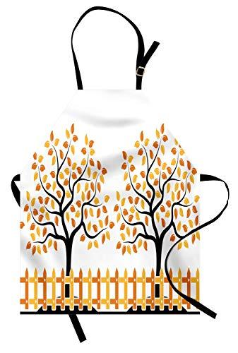 Abakuhaus agriturismo grembuıle da cucına, caduta di alberi d'autunno, altezza regolabile lavabile non sbiadenti colori chiari, arancione nero