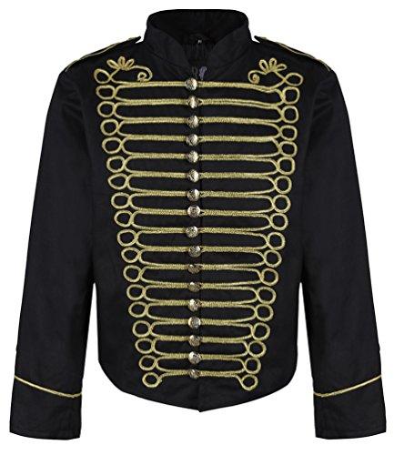 Herren Steampunk Napoleon Offizier Parade Jacke (Herr M, Schwarz & Gold)