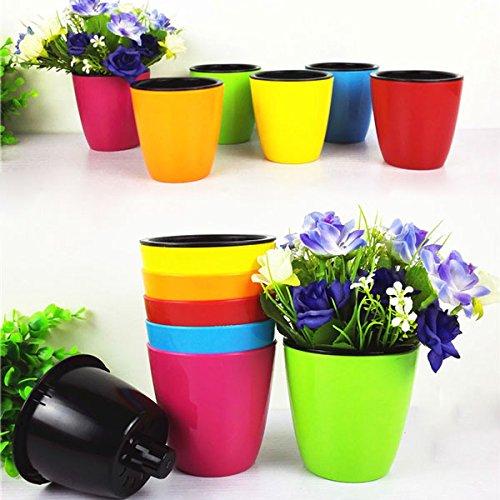 Bluelover Mini giardino colorato acqua deposito Flower Pot Candy colore plastica coltivato Flowerpot