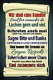 Familien regeln, hausordnung, haus regeln schild auch blech, metal sign, deko schild,