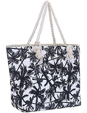 Große Strandtasche mit Reißverschluss 58 x 38 x 18 cm Palmen Shopper Schultertasche Miami Florida Tasche