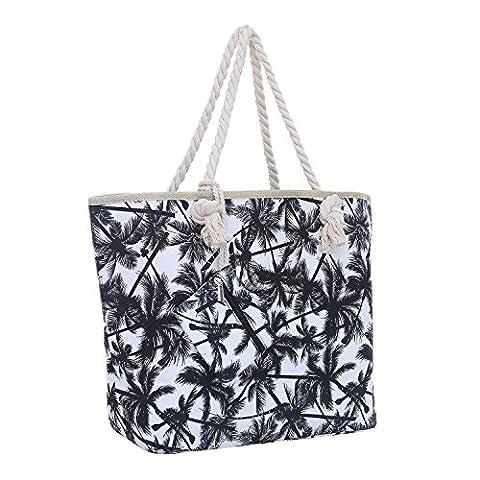 Large Beach Bag with Zipper 58 x 38 x 18 cm Palm Trees White Black Shopper Shoulder Bag Miami Florida Bag