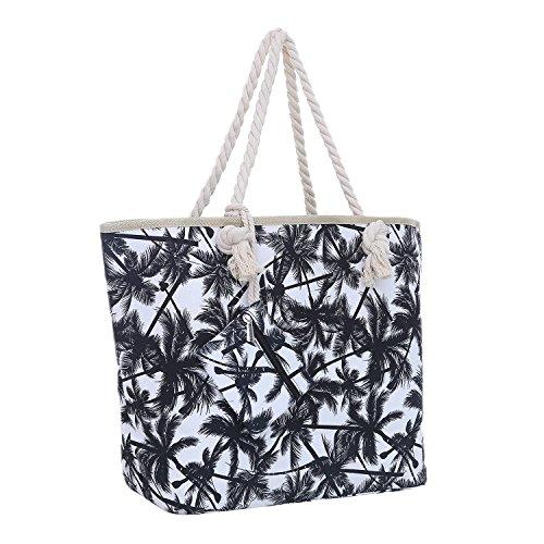 Große Strandtasche mit Reißverschluss 58 x 38 x 18 cm Palmen weiß schwarz Shopper Schultertasche Miami Florida Tasche