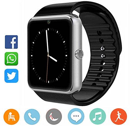 CatShin Smartwatch Für Herren-Sport Uhr Fitnessuhr Fitness Tracker Intelligente Armbanduhr Smart Watch mit Kamera Schrittzähler Schlaftracker Pulsmesser Kompatibel mit Android/IOS(SILBER)