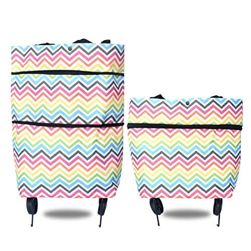 Shiduoli Lebensmittelgeschäft Einkaufswagen Handgezeichnete Tasche Faltbare Handtasche Zweifach verwendbare Handtasche mit Rädern Warenkorb Tasche Schlepptasche Reisewagen (Color : Colorful Stripes) -