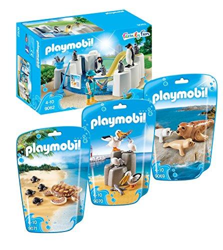 Playmobil 9062 Piscina pingüino con 9069 Sello con los bebés, familia Pelican 9070 y 9071 con los bebés tortuga