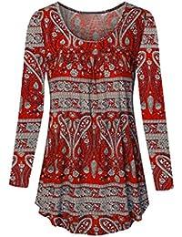 Encolure dégagée Femmes Manches Longues Blouse Grande Taille Top Tunique  Chemise Malloom c189210583e