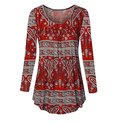 Encolure dégagée Femmes Manches Longues Blouse Grande Taille Top Tunique Chemise Malloom