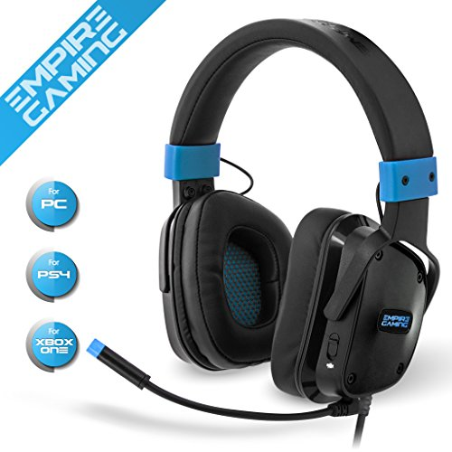 Empire Gaming Auricular Gamer multiplateforme Empire H800Compatible con PC/PS4/xbox */Nintendo Switch. Banda ajustable y regulable–Micrófono flexible–Color Azul Design Ultra Gamer