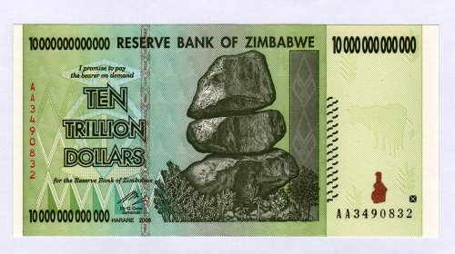 Zimbabwe 10 Trillion Dollar Note Bill Money Inflation Record Currency Banknote