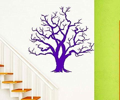 Sticker mural Arbre Kahl sans Feuilles branches d'arbres Autocollant Kid Chambre d'automne Deco Forêt Sticker mural Salon 1e073, Lime Green Mat, 110cm