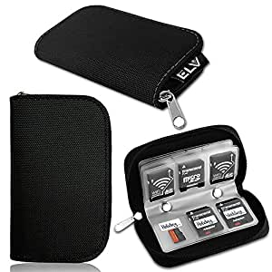 Elv Portable Memory Card Storage Wallet Premium Quality Protective 22 Slots Sd Card Carrying Case,Black