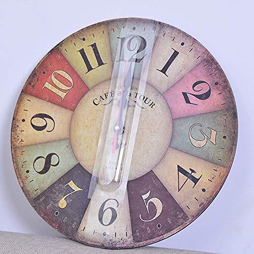 Orologio da Parete in Legno Vintage,30 cm Orologio Numerico Grande in Legno Retro,Silenzioso No Tick Tack Rumore Orologio da Parete per Cucina,Soggiorno Decorazione - 6