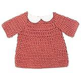 Sebra Puppenkleidung, Kleid, tonrot rot gehäkeltes Puppenkleid für 40cm Puppe 100% Baumwolle Sebra0468