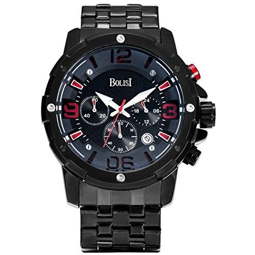 BOLISI Herren Chronograph Japanisches Quarzwerk Armbanduhren mit Edelstahl Armband F8205