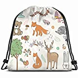 set wild animals hand drawn wildlife background nature Drawstring Backpack Gym Sack Lightweight Bag Water Resistant Gym Backpack for Women&Men for Sports,Travelling,Hiking,Camping,Shopping Yoga