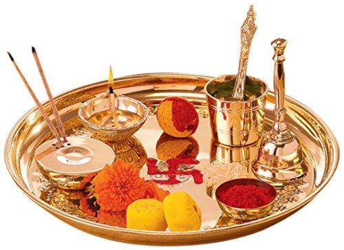 goldgiftideas Balaji spezielle Räucherstäbchen Pooja Thali Set (Messing) mit Kupfer panchpatra, Räucherstäbchen Pooja dekorativ, komplett gelegentlichen Geschenk, Awesome Return Geschenk -