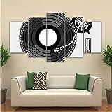 Sdhafhj Toile Art Print Hd Affiche Mur Modulaire Image Gramophone Musique Dj Mode 5 Ensemble Peinture En Aérosol Vintage Chambre Décoration De La Maison-40x60/80/100CM,Sans cadre