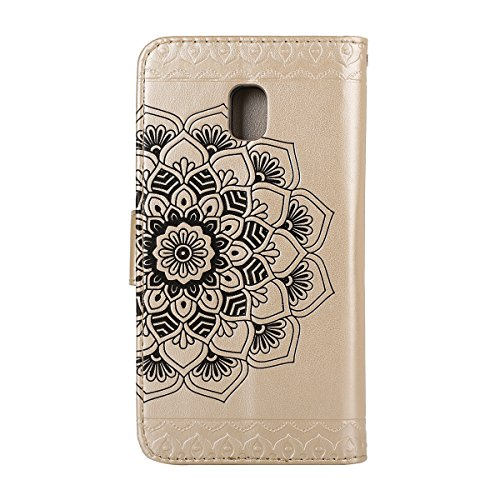 Custodia per Samsung J5 2017 (Versione europea), Galaxy J5 2017 (Versione europea) Cover a libro, iphone X Cover Flip, MoreChioce Lusso Bookstyle Flip PU Pelle Cover Moda Design Modello Gatti e alberi Mandala-Gold