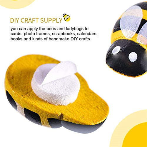KINGSO 200pcs Wooden Bees Ladybugs Set Includes 100pcs Tiny Wooden Bumble Bees & 100pcs Flatback Painted Ladybugs Embellishments for Crafts Scrapbooking DIY Decoration by TheBigThumb