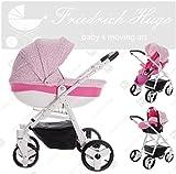 Friedrich Hugo | Modell Easy Comfort | 3 in 1 Kombi Kinderwagen | Farbe: Rose & Leo Fabric