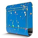 BANJADO Edelstahl Briefkasten mit Zeitungsfach, Design Motivbriefkasten, Briefkasten 38x43,5x12,5cm groß Motiv Bunte Luftballons