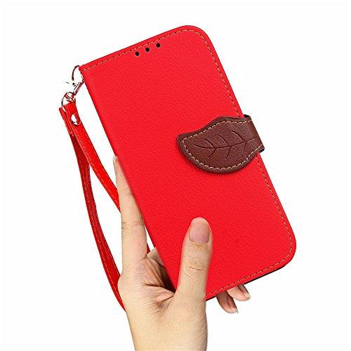 Boucle magnétique en forme de feuille Housse en cuir en cuir PU avec housse horizontale et support en cuir et cordon de transport [Lanyard] pour MEIZU Meilan M5 / M5s ( Color : Black ) Red