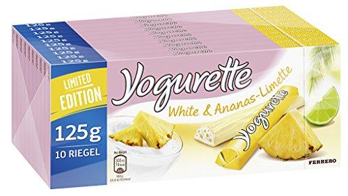 Yogurette White & Ananas-Limette, 10er Pack (10 x 125g Tafel) (Granatapfel Limited-edition)