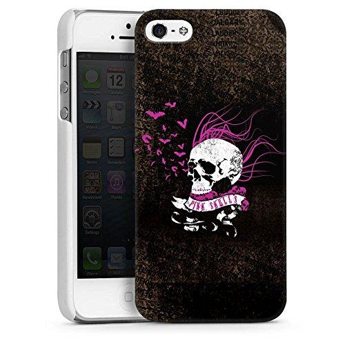 Apple iPhone 5 Housse étui coque protection Tête de mort Noir Rose vif CasDur blanc