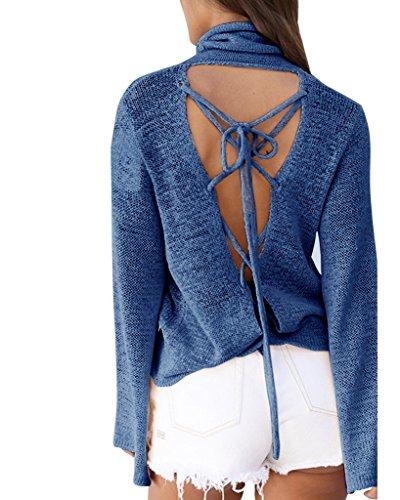 Smile YKK Pull Femme Top Manche Longue T-shirt Dos Nu Bandage Soirée Cocktail Casual Autome Printemps Bleu
