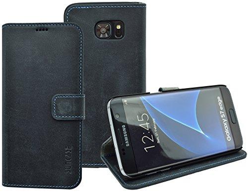 Book-Style Ledertasche Tasche für Samsung Galaxy S7 EDGE *ECHT LEDER* Handytasche Case Etui Hülle (Original Suncase) in pebble-blue