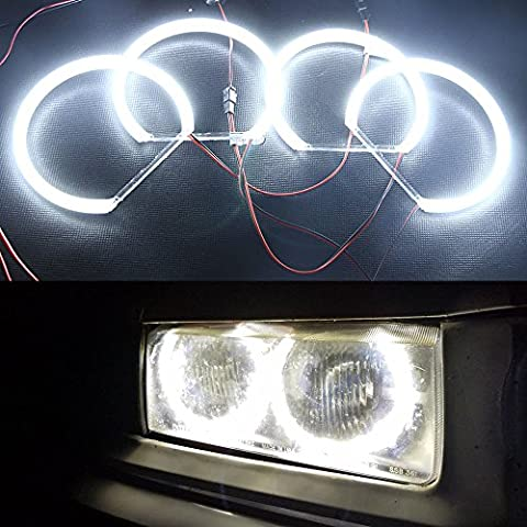 Newsun 12V Car Styling 3014-SMD LED Angel Eyes Halo Ring Lighting Kit Pure White Parking Drl Daylight with