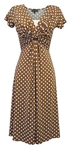 Pin Retro Girl Up Kostüm - Neue Slinky Damen farblich abgesetzter Rand 1940s WW2 Land girl, 50er Jahre Pin up Polka Dot Kleid Swing, Braun, UK 16