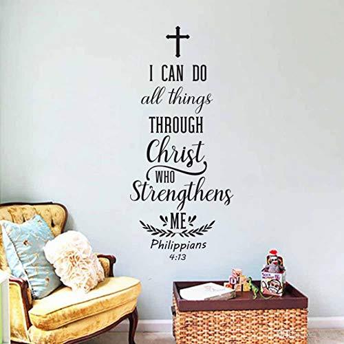 wlwhaoo Bibel Vers Wandkunst Aufkleber Aufkleber Christian Schrift Wandtattoos für Wohnzimmer Abnehmbare Vinyl Wohnkultur Wandbild Schlafzimmer schwarz 57x128 cm -