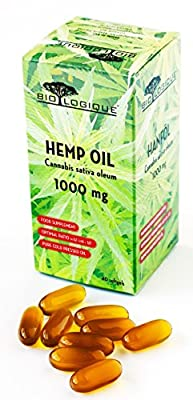 HEMP OIL 1000mg, pure cold pressed oil, optimal ratio omega-6/omega-3 : 3/1, nature's most balanced oil for human nutrition, 40 softgel capsules by HOFIGAL