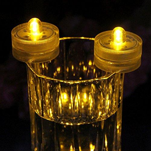 10 LED Unterwasserlichter für Badewanne, Pool, Teich, Bad - Wasserdichte Teelichter LED Lichter Bernstein von PK Green